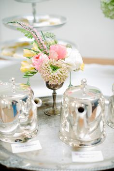 Mother's Day Backyard Tea Party. I need to polish my antique silver goblets and use them for flowers.