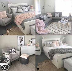 Grey and pink bedroom Pink Bedroom Decor, Pink Bedrooms, Gold Bedroom, Teen Room Decor, Bedroom Themes, Teen Bedroom, Bedroom Ideas, Pink Gray Bedroom, Grey Bed Room Ideas
