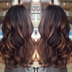 Le balayage cheveux bruns balayage sur cheveux noir