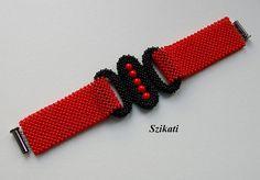 Rouge/noir graine Perle Bracelet manchette Bracelet de par Szikati