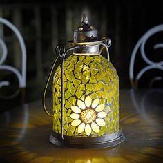 I need to find this one!Sunflower Mosaic Lantern - From Lakeland Decorative Lanterns, Lanterns Decor, Candle Lanterns, Candles, Sunflower Kitchen, Sunflower Garden, Sunflower Art, Glass Mosaic Tiles, Mosaic Art