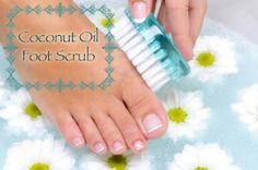 COCONUT OIL PEPPERMINT FOOT SCRUB 4 tablespoons coconut oil 6 drops peppermint oil 10 drops tea tree oil 1 teaspoon honey (optional) 1 teaspoon salt 1 teaspoon brown sugar (optional) 1 tablespoon baking soda Can also use coffee grinds. To make a drier mix add more baking soda or sugar. Rub on then soak in hot water for ten mins.