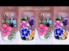Flower Nail Designs, Toe Nail Designs, Floral Nail Art, Flower Nails, Manicure And Pedicure, Spring Nails, Toe Nails, Projects To Try, Nail Polish