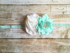 Aqua Headband/White & Aqua Headband/Baby Headband/Baby Girl Headband/Infant…