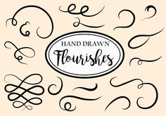 Set of 33 hand-drawn vector decorative flourishes to add beauty to your calligraphy, vector designs, post cards, invitation cards, posters and more. Invitation Cards, Invitations, Arrow Logo, Vector Design, Vector Free, Flourishes, How To Draw Hands, Doodles, Hand Drawn