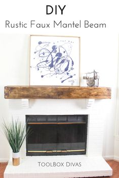 DIY Faux wood beam fireplace mantel. floating shelves style mantel. This farmhouse style decor is an aged vintage reclaimed look.  Easy step by step tutorial and video. @Toolboxdivas #Farmhouse #Farmhousestyle #Home decor Living room family room via @Toolboxdivas