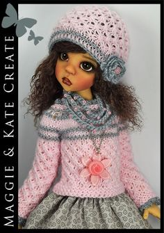 """8-Piece Pink & Gray Outfit for Kaye Wiggs 18"""" MSD BJD by Maggie & Kate Create"""
