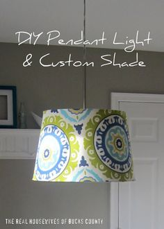 DIY Pendant Light with a custom shade. The super simple pendant light is made from a plain IKEA light. #diyhomedecor #diydecorations Plug In Pendant Light, Pendant Lamp, Pendant Jewelry, Pendant Lights, Do It Yourself Design, Custom Shades, Lampshades, Diy Lampshade, Ikea Hack