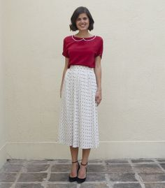 DIY red pearl collar top, vintage polka dot pleated midi skirt, zara wedges.
