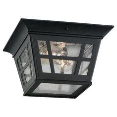 Sea Gull Lighting 78131 Herrington 2 Light Outdoor Flush Mount Ceiling Fixture Black Outdoor Lighting Ceiling Fixtures Flush Mount