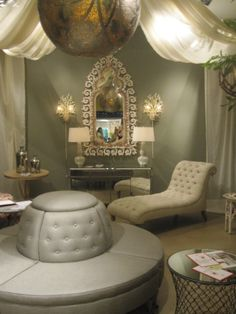Poufs are back!   Dovecote Decor...looks like a great spa area...very serene