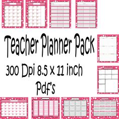Teachers Planner Pack -10 different one page Planning Calenders -Instant Download- Printable PDF**Not Editable** - pinned by pin4etsy.com