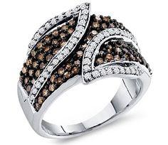 Brown Chocolate Diamond Ring Womens Band 10k White Gold (1.00 Carat) $568.00 (60% OFF)