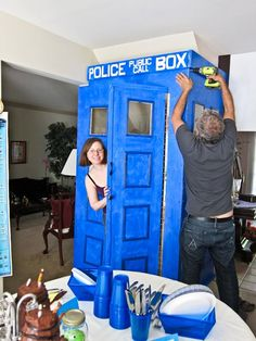 The Theme Party Girl: Doctor Who Theme Party - complete with life size tardis that leads into the basement party room.