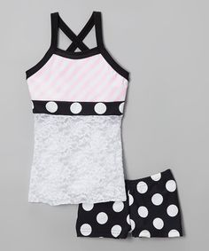 Loving this Pink & White Lace Tank & Polka Dot Shorts - Girls on #zulily! #zulilyfinds