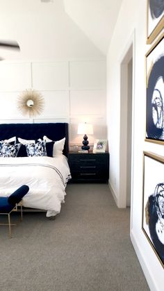 Navy, White and Gold Master Bedroom Bedroom with navy tufted bed, white focal wall with molding, gol Room Ideas Bedroom, Small Room Bedroom, Master Bedroom Design, Home Decor Bedroom, Modern Bedroom, Bedroom Furniture, Small Rooms, Ikea Bedroom, Bedroom Wall Ideas For Adults