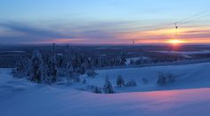 Break Sokos Hotel Levi, Lapland, Finland Polar night in Lapland Polar Night, Lapland Finland, Varanasi, Winter Activities, Winter Time, Chill, Mountains, Sunset, Woods