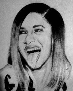 "d6f0c7b22a05 1SmartMindArt on Instagram  ""Better picture of Cardi B portrait Love herrrr   iamcardib  Art  portrait  cardibart  fanart  blackandwhiteartwork  create  ..."