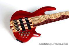 Custom Bass Guitars   Custom 8 String Bass Maple Purpleheart Swamp Ash Neck Thru Body 1