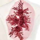 1x Luxury 3D Flowers Embroidery With Beads Applique DIY Dress Lace Fabric Craft