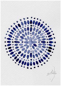 Boho Decor,  Blue Wall Art, Watercolor, Moroccan Blue, Abstract Art, Navy Blue, Art, Blue Print, Moroccan Art, Prints, Digital Print, Poster