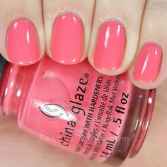 quenalbertini: China Glaze About Layin' Out - Spring 2016 House Of Color Collection Beautiful Nail Polish, Gorgeous Nails, Pretty Nails, Nice Nails, China Nails, China Glaze Nail Polish, Hot Nails, Hair And Nails, Watermelon Nails