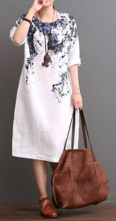 White cotton dress floral plus size dresses for summer