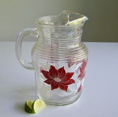 Vintage Glass Pitcher - Mid Century Red and White Flowers Made - by Hazel Atlas