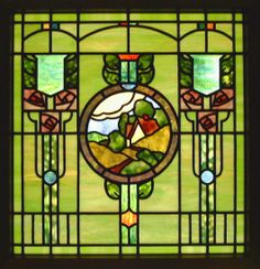 Arts & Crafts Landscape stained glass window