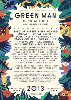 Not only are we excited about this year's Green Man festival, but we're also bonkers about the poster designed by Sarah Mazzetti and the work she's done on for the festival website