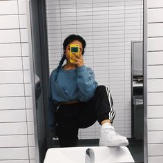 """˗ˏˋ j a z m i n s u s ˊˎ˗ on Instagram: """"bathroom selfie. thrifted fit. ⭐️ #chipotle #adidas #ootd #airforce1 #thrifted #blue #babyblue"""""""