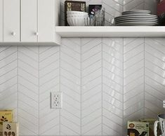 TILE SAMPLES: Nordic Snow White Gloss Chevron Arrow Left & Right Wall Tiles. The tiles can be laid in a traditional zig zag pattern or use your imagination and create your own design. Chevron Bathroom, Brick Bathroom, Chevron Tile, Kitchen Wall Tiles, White Tile Backsplash Kitchen, Condo Kitchen, Kitchen Interior, Small Bathroom, White Herringbone Tile