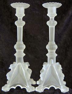 Val St. Lambert satin crystal candlesticks. Belgium