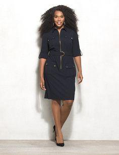 Belted Striped Zip-Front Shirt Dress