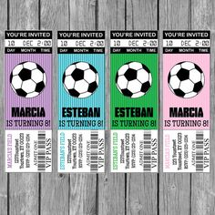 Soccer Birthday Parties, Soccer Party, Sports Party, 9th Birthday, Soccer Theme, Party Tickets, Girls Soccer, Ticket Invitation, World Cup