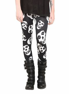 Too bad these are sold out.... :( Misfits Fiend Skull Leggings | Hot Topic