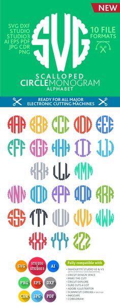 Scalloped Circle Monogram Font Cuttable Alphabet (SVG DXF Eps Studio Studio3 Png Pdf Jpg Ai Cdr) files for Silhouette Studio, Cricut, Cameo