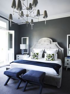 Navy/grey combo with green accent. (We'd use a different headboard)