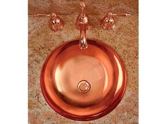Deschutes 17 Round Bath Sink - The Deschutes Round Metal Bathroom Sink is a 17 round bath sink made from solid copper or brass. Smooth or hammered surface. Handcrafted in USA.