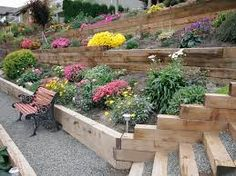 Image result for railroad tie retaining wall garden