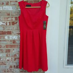 """Black Label by Evan-Picone Red Lace Fit & Flare 80 Every girl needs a red dress and this one is bound to turn heads. Scoop neckline, lace overlay fabric, pleated at waist for a flattering fit, fully lined, hidden back zipper. The shell and lining 100% polyester. Armpit to armpit 19"""" , length 39.75"""". No belt included although is had 2 thread loops in the back which can be easily cut off if desired. Evan Picone Dresses Midi"""
