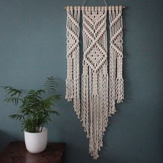 Macrame Wall Hanging > EMMA > 100% Cotton Cord in Natural Ecru with Bamboo