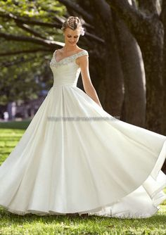 Buy A-line Off-the-shoulder Classic Style Satin Wedding Dresses SAWD-30274 with Beading A-Line Wedding Dresses under $328.99 only in Dressywomen.