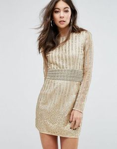 PrettyLittleThing Premium All Over Embellished Bodycon Dress