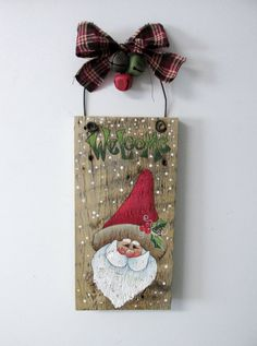 Welcome Sign, Welcome Sign with Santa, Hand Painted on Reclaimed Barn Wood…
