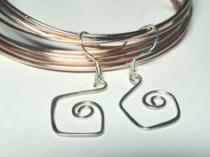 One Inch Geometric Silver Earrings w Sterling by fatdogbeads, $10.00