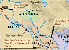 A map detailing Abraham's likely journey from Ur to Haran. It is probable Terah & his son would've traveled along the banks of the Euphrates northward, to Haran.