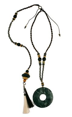 Tribal Dark Green Posture Reminder Necklace Jewellery Display, Natural Stones, Tassel Necklace, Beads, Dark, Green, Collections, Jewelry, Products