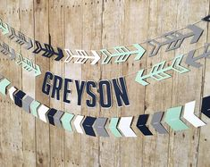 These banners are a great statement for a tribal baby shower, tribal birthday party or a tribal nursery! Made to match your party colors! **Please see shop announcement for current processing time! Boho Baby Shower, Arrow Baby Shower, Shower Bebe, Baby Boy Shower, Baby Showers, Nursery Banner, Nursery Decor, Boy Decor, Rustic Nursery