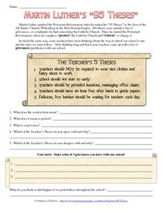 Protestant Reformation Worksheet Answers Unique Martin Luther the Reformation and Create Your Own 95 History Activities, Teaching History, Teaching Tools, Teaching Resources, Reformation Day, Protestant Reformation, Work Energy And Power, Martin Luther Reformation, Renaissance And Reformation